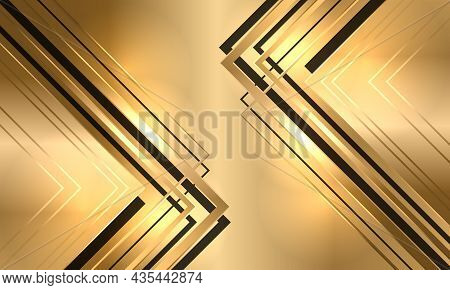 Golden Luxury Abstract Background With Black And Gold Arrows. Modern Royal Banner With Golden Lumino