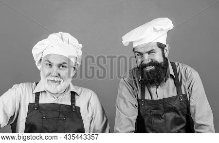 Restaurant Staff. Father And Son Culinary Hobby. Family Restaurant. Mature Bearded Men Professional