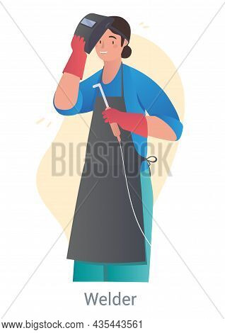 Woman Welder Concept. Character In Protective Mask And Uniform Holds Tool In His Hands And Repairs P