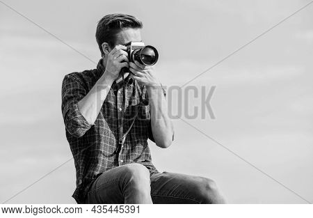 Remember To Explore. Capture Adventure. Journalist. Travel With Camera. Male Fashion Style. Looking