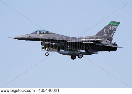 Kecskemet, Hungary - June 2, 2017: Military Fighter Jet Plane At Air Base. Air Force Flight Operatio