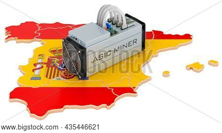 Mining In Spain, Concept. Asic Miner With Spanish Map. 3d Rendering Isolated On White Background