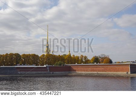 Peter And Paul Fortress And Neva River, Saint Petersburg, Russia. Autumn Sunny Day.