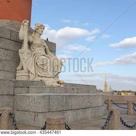 Sculpture At The Base Of The Rostral Column On The Spit Of Vasilievsky Island. Peter And Paul Fortre