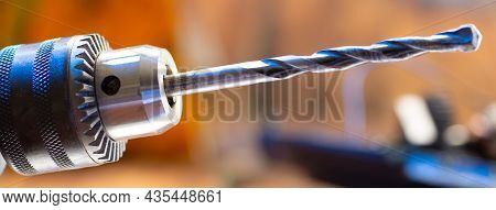 Electric Drill Close-up In A Repair Shop. Drill Drill Close Up