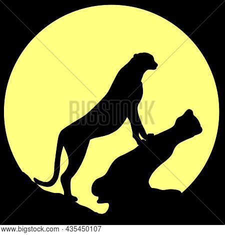 The Silhouette Of A Cheetah. Black Illustration Of An African Predator. A Relative Of A Lion, A Cat,
