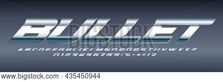 Silver Font Chrome Alphabet Aluminium Letters. Machinery Letter Set For Speed Logo And Headline. Shi