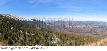 Spring Landscape Of Western Beskid Mountains With Babia Gora Massif On The Border Between Poland And