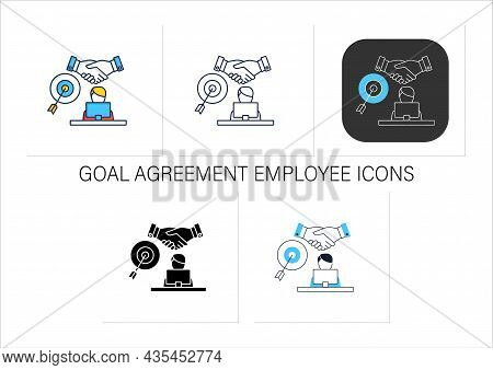 Goal Agreement Employee Icons Set. Official Documented Employment. Goals Achievement. Employee Works