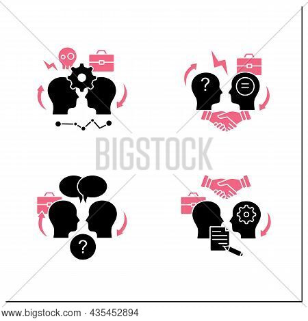 Conflict Management Glyph Icons Set.conflict Between Two Persons, Open Dialogue, Resolution Formaliz