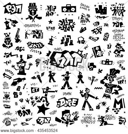 Rap Graffiti Doodle Icon Set , Design Element