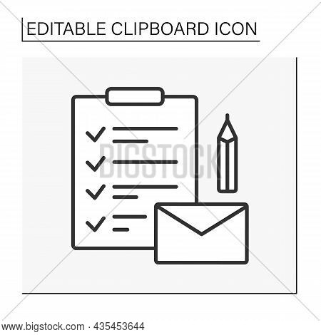 Clipboard Line Icon. Notification. Paper Sheet. Letter With Checklist And Pencil. Business Concept.