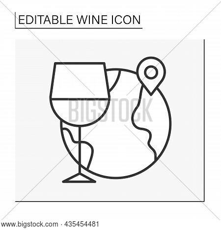 Enotourism Line Icon. Wine Tourism, Or Vinitourism. Tasting, Consuming Wine, And Touring The Winery.