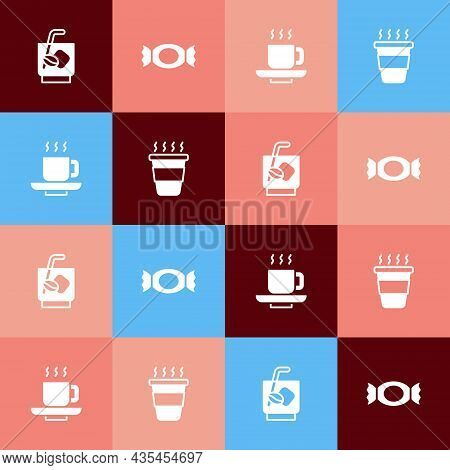 Set Pop Art Espresso Tonic Coffee, Candy, Coffee Cup And Go Icon. Vector