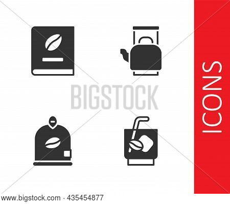 Set Espresso Tonic Coffee, Coffee Book, Bag Beans And Kettle With Handle Icon. Vector
