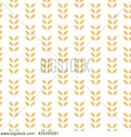 Seamless Geometric Pattern. Oats, Wheat, Grain, Rice Background. Simple Texture With Ears Of Wheat F