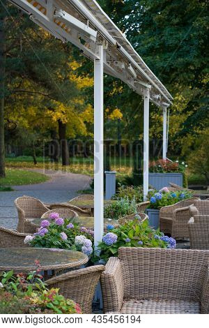 Empty Cafe Terrace In Autumn Park: Comfortable Wicker Furniture On Hotel Patio With View To Woods An