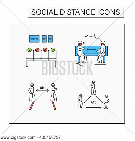 Social Distance Color Icons Set. Corona Virus Pandemic Safety Recommendations. Keep Distance At Park
