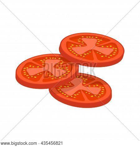 Fresh Red Tomato Sliced Slices Isolated On White Background. Flat Tomato Icon. Vector Illustration.