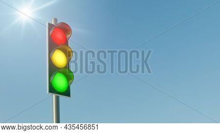 Traffic light symbol for German coalition of SPD, FDP and Greens. 3D illustration