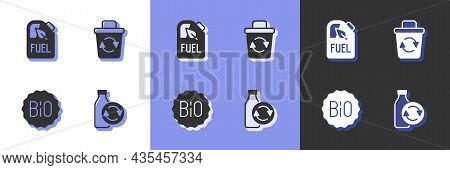 Set Recycling Plastic Bottle, Bio Fuel Canister, Banner For Bio And Recycle Bin Icon. Vector