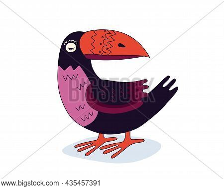 Colorful Drawing Toucan Exotic Bird. Hand Drawn Funny Tropical Parrot With A Huge Beak Stands. Vecto