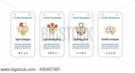 Conflict Management Onboarding Mobile App Screens. Resolving Conflict Between Two People Steps Menu.