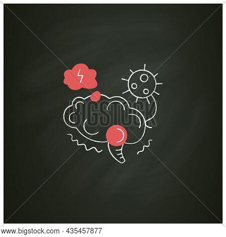 Neurological Disorder Chalk Icon.covid Caused Post-traumatic Stress Syndrome.corona Virus Brain Heal