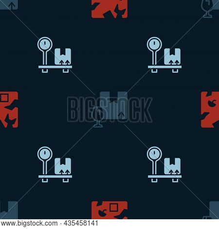 Set Broken Cardboard Box, Package With Fragile Content And Scale On Seamless Pattern. Vector