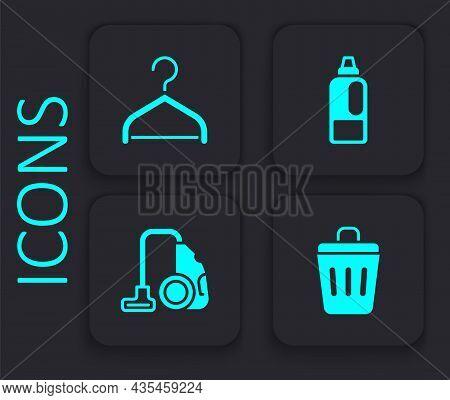 Set Trash Can, Hanger Wardrobe, Bottle For Detergent And Vacuum Cleaner Icon. Black Square Button. V