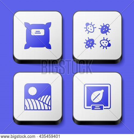 Set Pack Full Of Seeds, Colorado Beetle, Agriculture Wheat Field Farm And Seeds Specific Plant Icon.