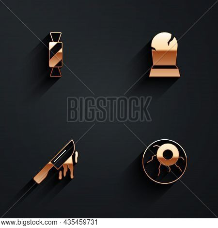 Set Candy, Tombstone With Rip Written, Bloody Knife And Eye Icon With Long Shadow. Vector