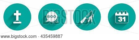 Set Tombstone With Cross, Boo Speech Bubble, Bloody Knife And Halloween Date 31 October Icon With Lo