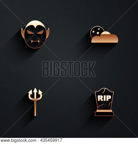 Set Vampire, Moon And Stars, Trident Devil And Tombstone With Rip Written Icon With Long Shadow. Vec