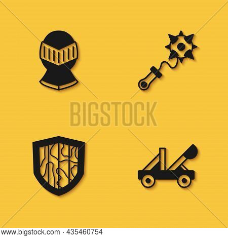 Set Medieval Helmet, Catapult, Shield And Mace With Spikes Icon With Long Shadow. Vector