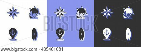 Set Surfboard, Wind Rose, Location With Anchor And Tsunami Icon. Vector