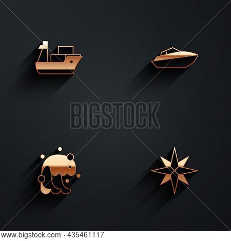 Set Cargo Ship, Speedboat, Tsunami And Wind Rose Icon With Long Shadow. Vector