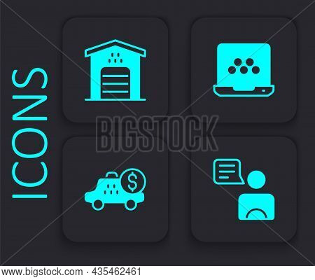 Set Taxi Driver, Garage For Taxi Car, Mobile App And Taximeter Device Icon. Black Square Button. Vec
