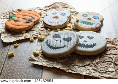 Low Key Photo. Various Halloween Themed Buttery Cookies.