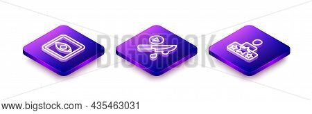 Set Isometric Line Rating Movie, Thriller And Actor Star Icon. Vector