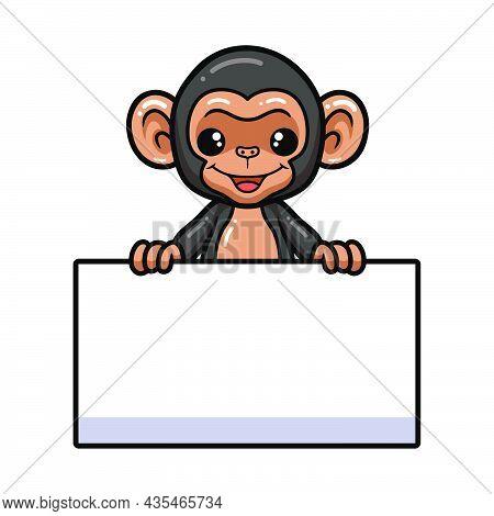 Cute Baby Chimpanzee Cartoon With Blank Sign