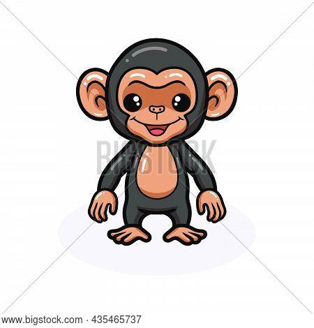 Vector Illustration Of Cute Baby Chimpanzee Cartoon Standing