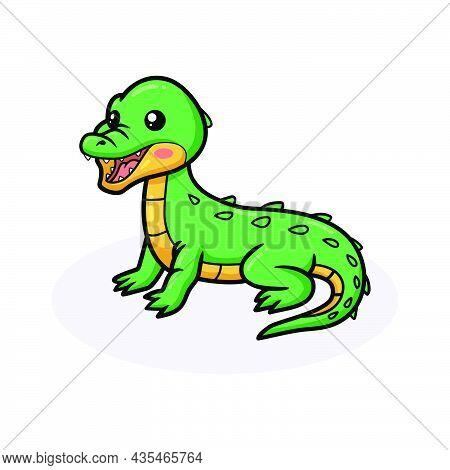 Vector Illustration Of Cute Little Green Crocodile Cartoon