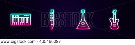 Set Line Music Synthesizer, Flute, Balalaika And Electric Bass Guitar. Glowing Neon Icon. Vector