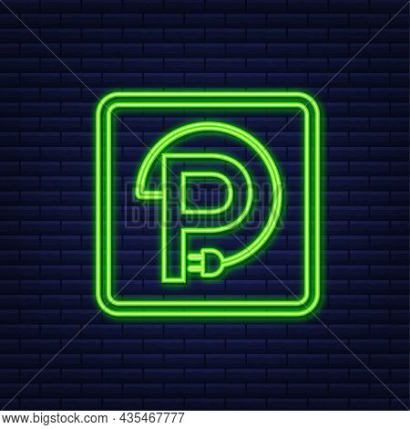 Electric Vehicle Charging Station Icon. Ev Charge. Electric Car. Neon Icon.