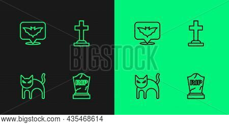 Set Line Tombstone With Rip Written, Black Cat, Flying Bat And Cross Icon. Vector