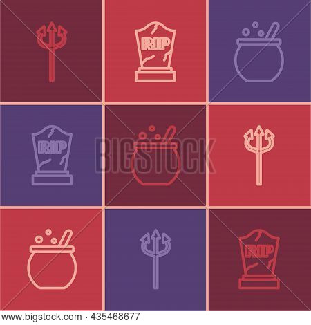 Set Line Trident Devil, Halloween Witch Cauldron And Tombstone With Rip Written Icon. Vector
