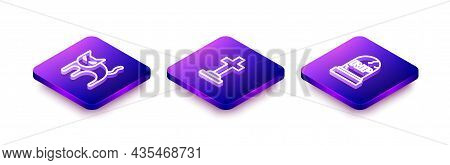Set Isometric Line Black Cat, Tombstone With Cross And Rip Written Icon. Vector