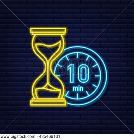 The 10 Minutes, Stopwatch Vector Neon Icon. Stopwatch Icon In Flat Style, Timer On On Color Backgrou