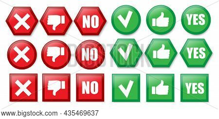 Yes And No Icon Set. Red And Green. Geometric Shapes. Flat Style. Social Media Button. Vector Illust